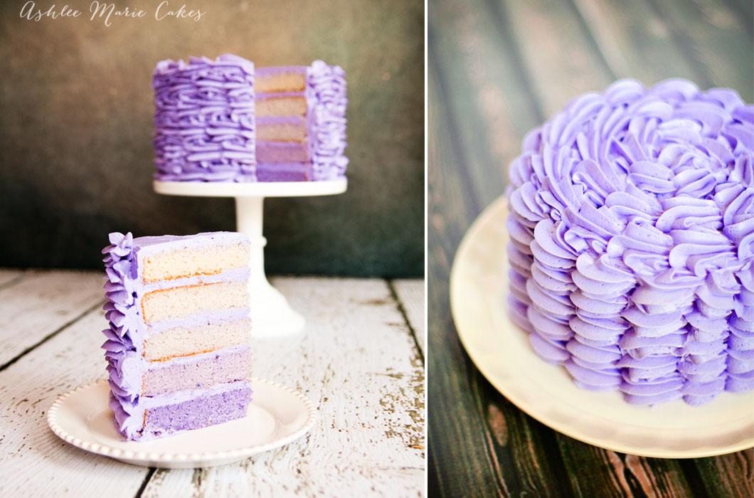 ombre buttercream ruffled cake ashlee marie cakes